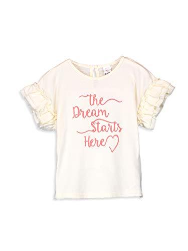 LC WAIKIKI Baby Mädchen Bedruckte Baumwoll T-Shirt mit Rüschen 6m-9m Ecrü 100% Baumwolle