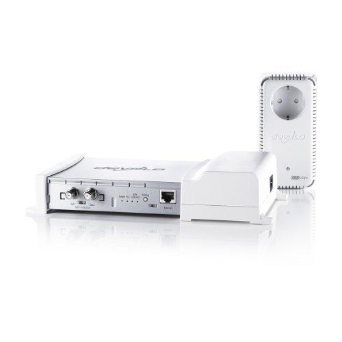 Devolo dLAN TV SAT Multituner Kit (SAT Fernsehen/Radio über das Stromnetz auf Ihren TV oder mobiles Gerät, im Set mit Adapter dLAN 500 duo+, Full HD, kein Kabel verlegen, Powerline) weiß