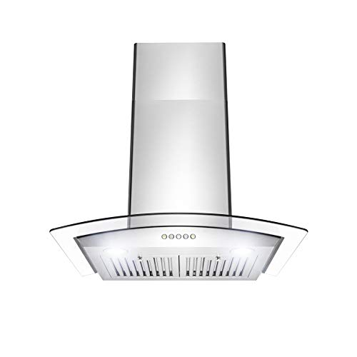 Perfetto Kitchen and Bath 30' Convertible Wall Mount Range Hood in Stainless Steel with LEDs, Push Controls & Tempered Glass