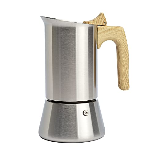 Primula Stainless Steel Stovetop Espresso and Coffee Maker, 6 Cup, Wood Handle