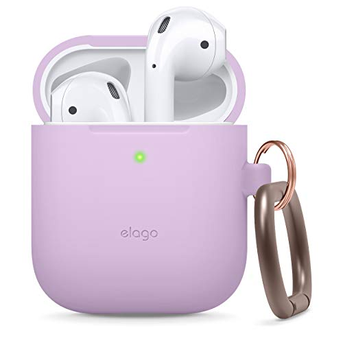 elago Silicone Case with Keychain Designed for Apple AirPods Case [Front LED Visible] [ Lavender ]
