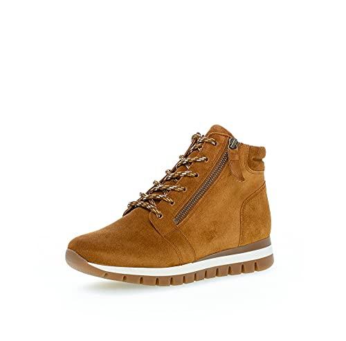 Gabor Damen High-Top Sneaker, Frauen Halbschuhe,Wechselfußbett,Komfortable Mehrweite (H),Laufschuhe,knoechelhoch,Camel (Micro),41 EU / 7.5 UK