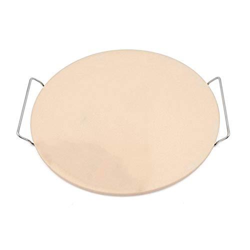 Piedra para pizza para horno y parrilla de gas, redonda, cordierita, piedra para pizza con mango/cortador, piedra para horno de piedra