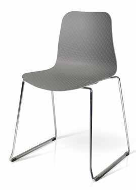 InHouse srls Série de 4 chaises, Polypropylène Gris avec Pied en Metal