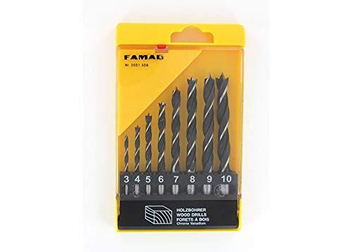 FAMAG 3501 Holzspiralbohrer-Satz CV 8-teilig in Kunststoff Box Ø 3,4,5,6,7,8,9,10mm - 3501805