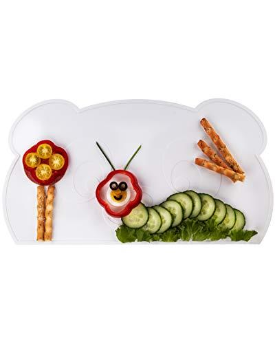 KOKOLIO® Little Panda, Kinder Tischset (Rutschfest & Abwaschbar), Platzset Aus Silikon, Tischunterlage Für Babys & Kleinkinder, Malunterlage (Weiß)