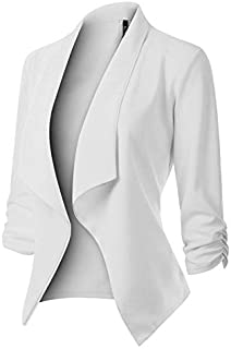 MixMatchy Women's [Made in USA] Solid Formal Style Open Front Long Sleeves Blazer (S-3X)