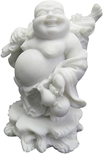 HOMLUXCARE Estatuas de Buda riendo, Piedra de mármol Blanco, esculturas de decoración China, hogar, Oficina, Riqueza, Buena Suerte, Prosperidad, Figuras, talladas a Mano