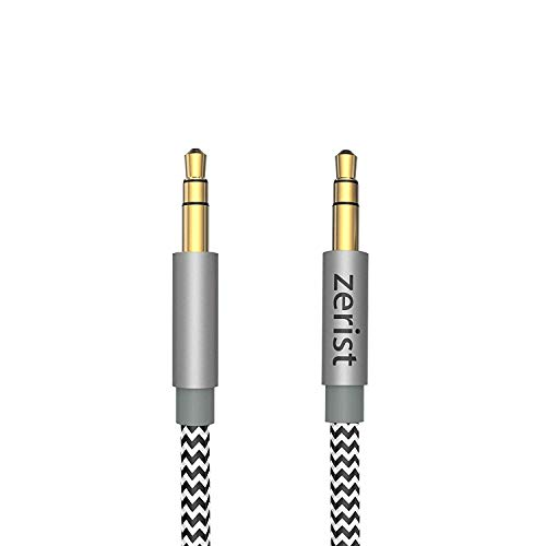 Zerist 3.5mm AUX Audio Cable Male to Male 4FT/1.2M Nylon Braided Stereo Jack Cable for iPhone, iPod, iPad, Android Samsung Smartphones, Tablets, Sound Box, Car, MP3 Players and More Grey