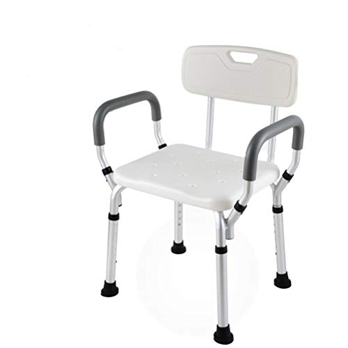 ZXY-NAN Bathroom Wheelchairs Elderly Shower Stool Moving Adjustable Height Non-Slip with Arms & Backrest Bathroom Bath Chair for Pregnant Women