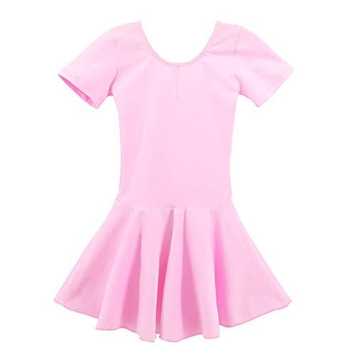 Xiao Jian Dance Wear Kinderen, danswear, vrouwelijk ballet, dansrok, split lente en zomer, lycra, katoen, lange mouwen, oefening, kleding pak, kinderbodybroek, rok roze + lila tanzunivorm