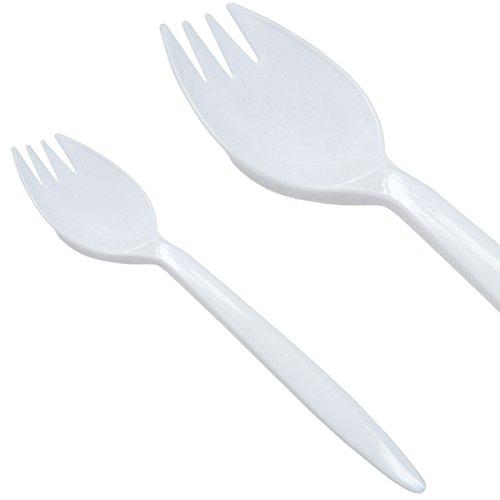 Decor Service Cuchara de Tenedor, plástico, Blanco, 14cm
