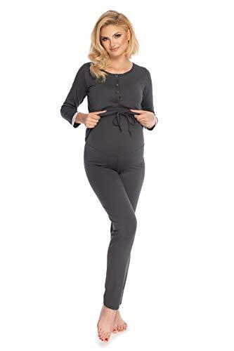Selente Mummy Love Umstands-Schlafanzug (Made in EU) Pyjama/Nachtwäsche-Set für die Schwangerschaft und Stillzeit (S-M, Dunkelgrau)