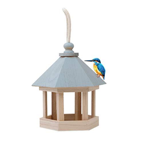 Yuciya Comedero para Pájaros, Comedero para Pájaros de Madera, Estación de Alimentación Colgante, Comedero para Pájaros Hueco para La Decoración del Jardín
