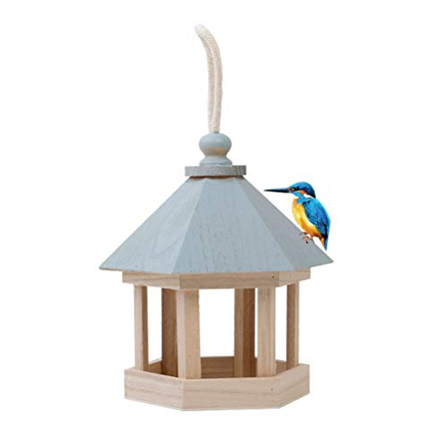 Poxcap Vogelfütterungsstationen Holzfutterhäuschen Hängende Fütterungsstation Leere Papageienkiste Sechseckiger Pavillon Dachhangar für