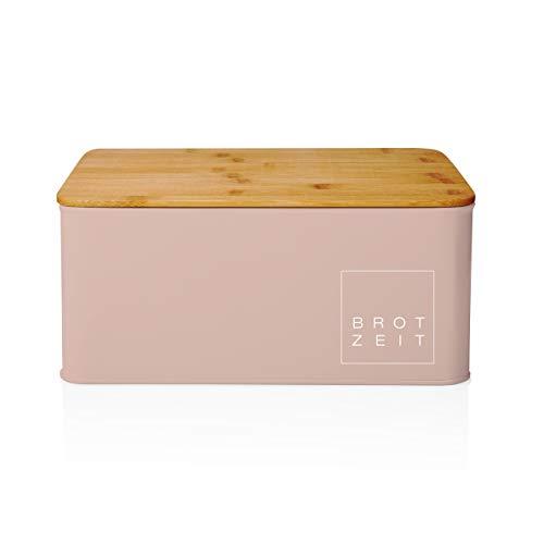 Lumaland Cuisine Brotkasten aus Metall mit Bambus Deckel rechteckig 30,5 x 23 x 14 cm - in 9 Farben - Brotbox, Brotaufbewahrung mit 2in1 Bambusdeckel + Schneidebrett - Alt Rosa