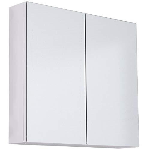 "HomCom 22"" Stainless Steel Double Doored Wall Mounted Mirrored Medicine Cabinet"