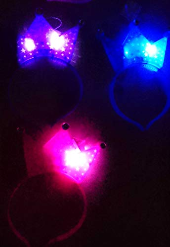 Diadema con luces LED, diseño de princesas, corona y estrella, color morado