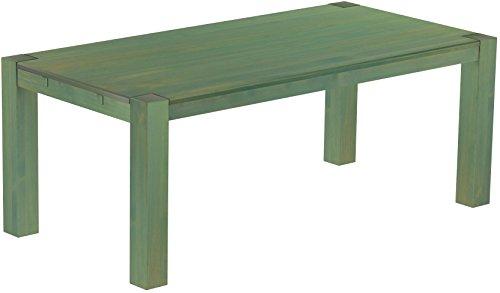 Brasilmöbel - Tavolo da pranzo Rio Kanto 240 x 100 cm, in legno massello di pino Osmo, colore verde, in bambù