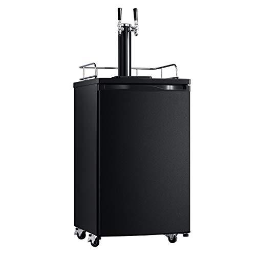 SMETA Full Size Keg Beer Cooler Refrigerator Kegerator Draft Beer Dispenser Dual Tap Tower without Digital Display