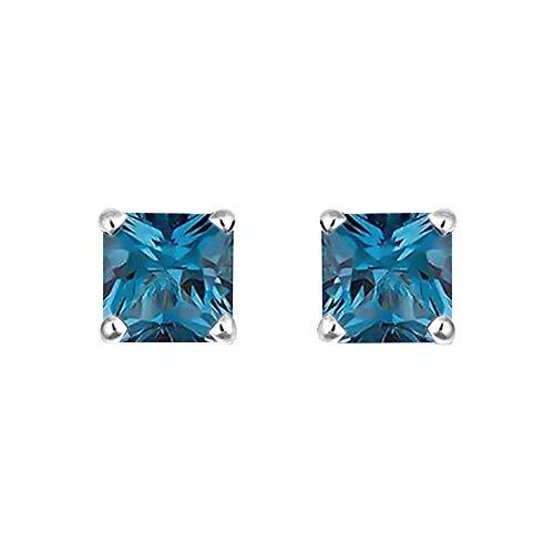 Ani's Pendientes solitarios de diamante de corte princesa D/VVS1 de 4 puntas en oro blanco de 14 quilates
