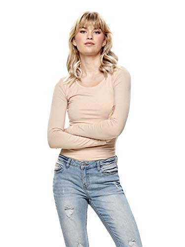 ONLY Damen Onllive Love New Ls O-Neck Top Noos Langarmshirt (Rose Smoke (rosé), 38 (Herstellergröße: M))