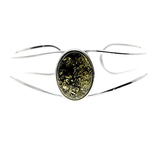 SilverAmber Jewellery UK - 925 Sterling Silber mit baltischem Grüner Bernstein Armreif GL532G.