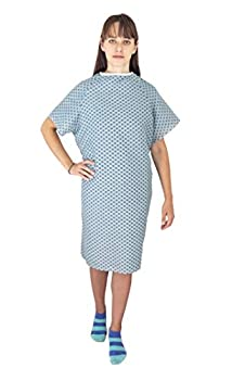 Deluxe 3 Pack Cotton Blend Hospital Patient Gown - Back Tie 41  Long & 52  Wide Easy Care Soft & Comfortable Gowns – One Size Fits All Blue