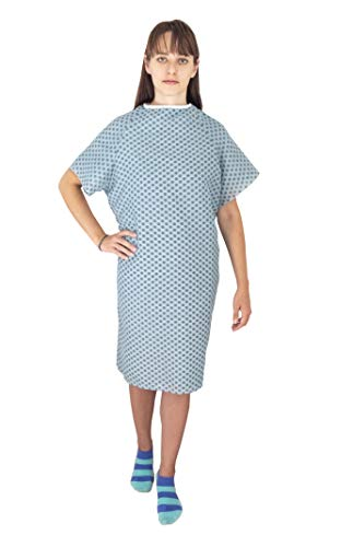 Deluxe 12 Pack Cotton Blend Hospital Patient Gown - Back Tie, 41' Long & 52' Wide, Easy Care, Soft & Comfortable Gowns – One Size Fits All Blue