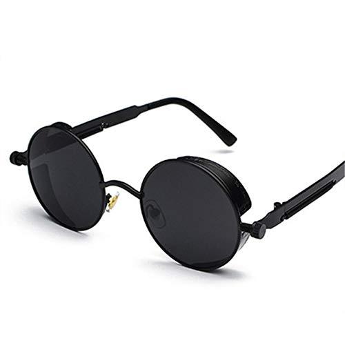 Occhiali da sole, Charminer gotico stile Steampunk Retro Sunglasses rotondi per le donne Uomo Round Lens Metal Frame occhiali da vista punk Hippy Eyewear UV400 nero nero