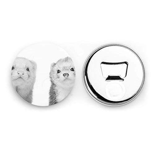 Ferrets Round Bottle Openers/Fridge Magnets Stainless Steel Corkscrew Magnetic Sticker 2 Pcs