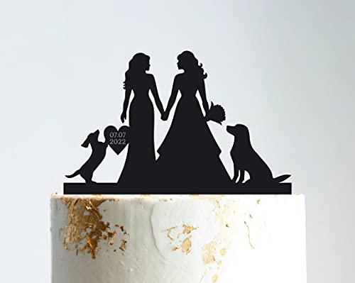 Decoración para tarta de boda lesbiana con perro perro salchicha lesbiana con...