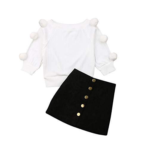 2Pcs Toddler Baby Girls Long Sleeve Ball Knit Sweater Top + Button Pencil A-Line Skirt Set Fall Winter Clothes (2-3T,White Sweatshirt Knit Sweater + Black Decoration A Word Pencil Skirt)