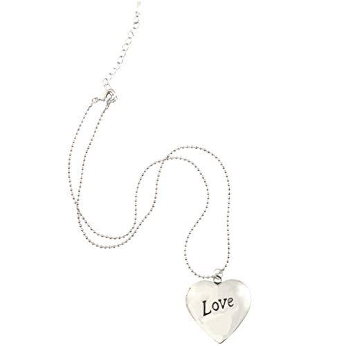 Baoblaze Love Heart Locket Necklace Picture Lockets Regalos de Cumpleaños para Hombres, Mujeres - Plata, 2.8x2.8cm