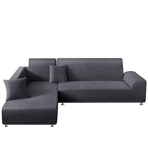 TAOCOCO Sofabezug, elastisch, L-Form, bestehend aus zwei Teilen für 3-Sitzer + 3-Sitzer mit 2 Kissenbezügen (Diamantmuster grau)