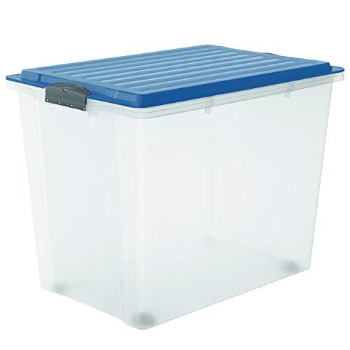 Rotho Compact Aufbewahrungsbox 70l mit Deckel und Rollen, Kunststoff (PP) BPA-frei, blau/transparent, A3/70l (57,0 x 39,5 x 43,5 cm)