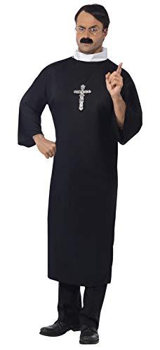 Halloween! Smiffys Priester Kostüm, Schwarz, mit langer Robe und Kollar