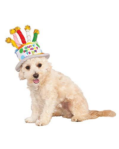 Horror-Shop Hunde Kostüm Accessoire Geburtstagshut mit Kerzen M/L