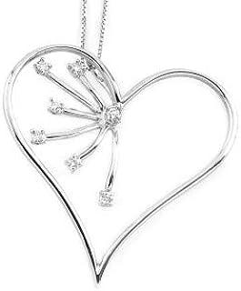 Gems&Gold srl Pendente in Oro Bianco 18KT e Diamanti a forma di cuore