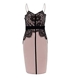 Women Dresses for Work Fashion Lady Sexy Lace Stitching Hollow Lace Date Party Sleeveless Dress Woman Dresses for Special Occasions Sexy Pink L