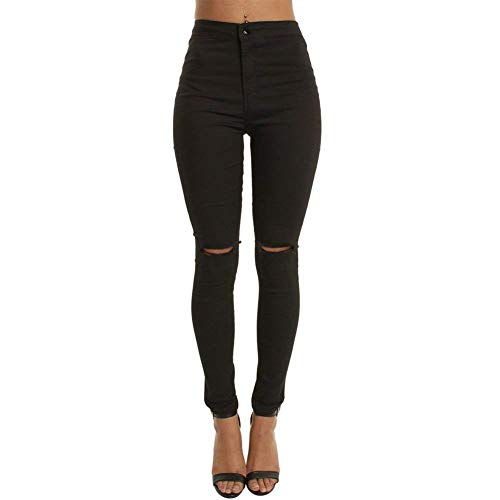 Saoye Fashion Damen High Waist Skinny Fit Ripped Loch Jeans Aufgerissene Hose Kleidung Einreihig Mit Taschen Einfarbig Bleistifthose Pants (Color : Schwarz, Size : S)