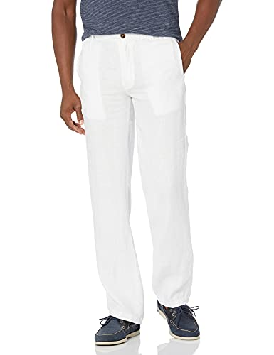 """Amazon Brand - 28 Palms Men's Relaxed-Fit Linen Pant with Drawstring, Bright White, Medium/30"""" Inseam"""