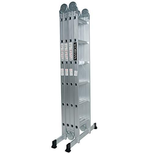 WORHAN® 6.7m Escalera Multiuso Multifuncional Plegable 670cm Tijera Bisagra Grande Aluminio con 2 Estabilizadores Nueva Generación Calidad Alta KS6.7
