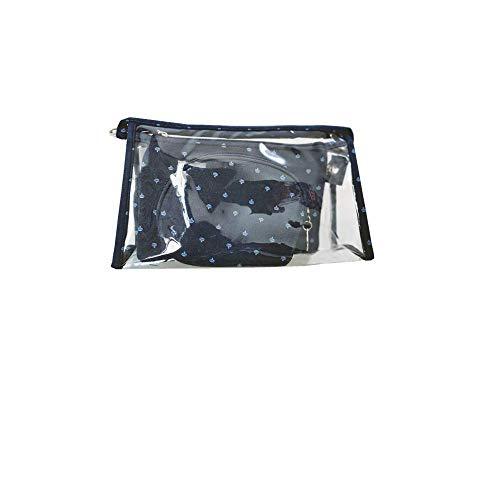 3 Piezas Juego de Bolsas de cosméticos a Prueba de Agua, Organizador de tocador de Bolsa de Maquillaje portátil pequeño de PVC, para Viajes o Uso Diario (Azul Marino)