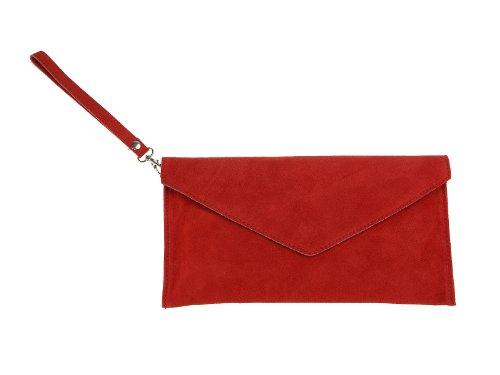 scarlet bag | Umhängetasche aus Wildleder Leder | Damen Handtasche Tasche Henkeltasche; 31,5 x 16,5 x 1,0 cm (rot)