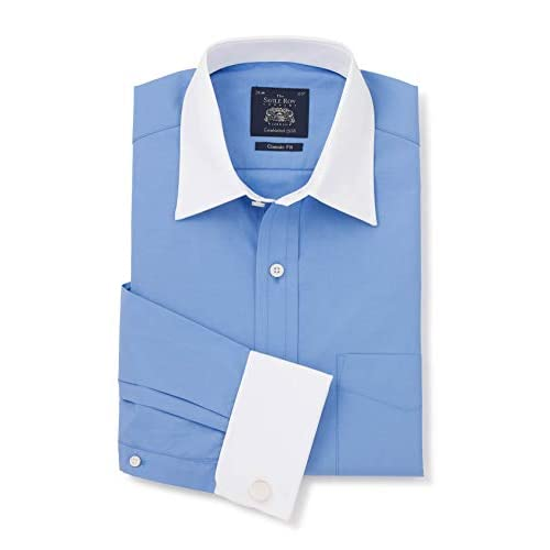 The Savile Row Company London French Blue Classic Fit Shirt with White Collar & Cuffs 15 1/2″ Standard