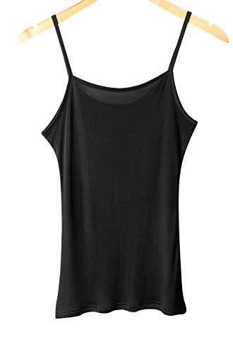 Women's 100% Pure Mulberry Silk Camisole Top Cami Chemise (M, Black)