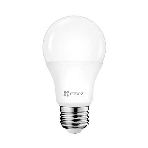 EZVIZ LB1 Lampadina LED Smart WiFi 8W 806LM, Compatibile con Alexa, E27 Luce Calda Dimmerabile 2700K, Comandabile Tramite App, Controllo Vocale, Nessun Hub Richiesto, Bianco
