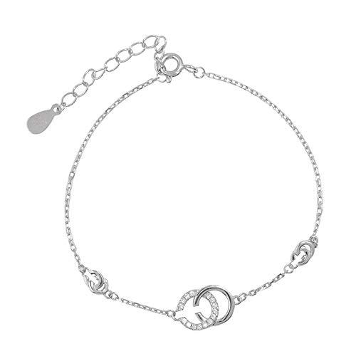 lonfenner Armbanduhr,Süße Romantische 925 Sterling Silber Armbänder Zirkon Cc Buchstaben Verstellbare Armband Frauen Hand Schmuck