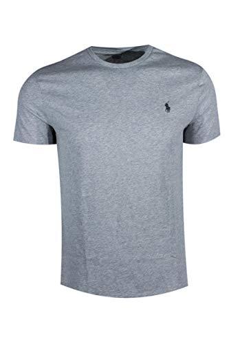 Polo Ralph Lauren Men's Crew-Neck T-Shirt (Small, Grey Heather (Dark Green Pony))